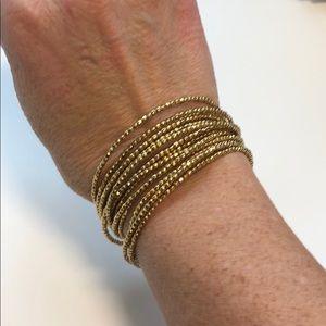 Stella & Dot gold bead 'slinky' wrap bracelet